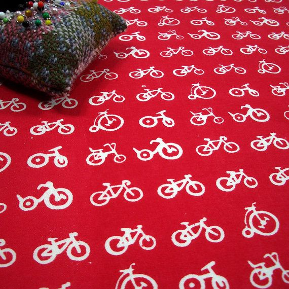 Multi Bike - hand screen printed skinny quarter - White on Pillar Box Red on Etsy, £5.10
