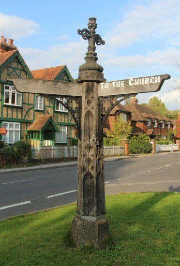 Village signpost, Albury in Surrey, England