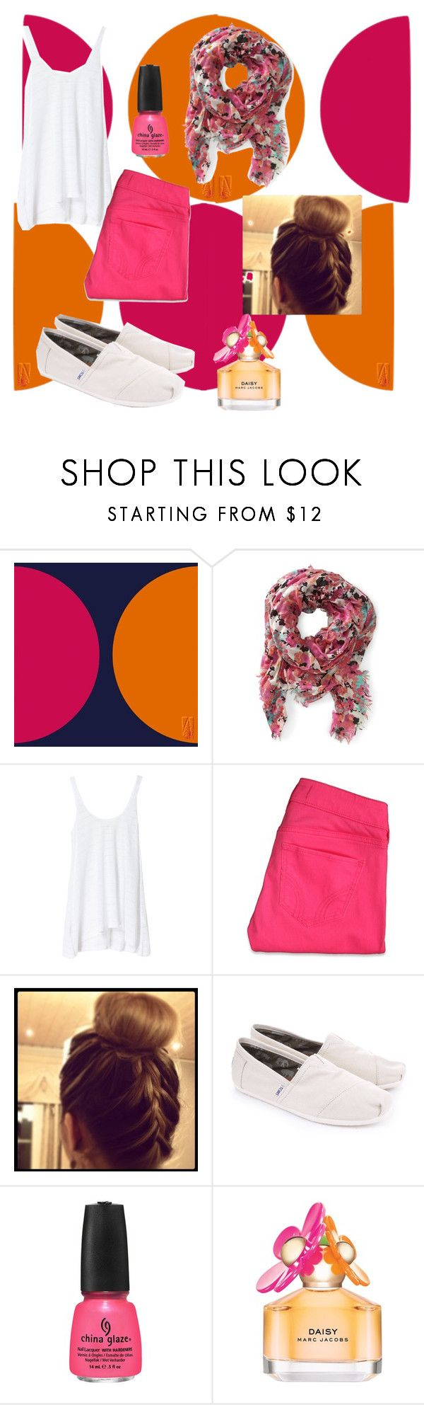 """Pink"" by deeda-ferreira ❤ liked on Polyvore featuring Zara, Hollister Co., TOMS, China Glaze and Marc Jacobs"