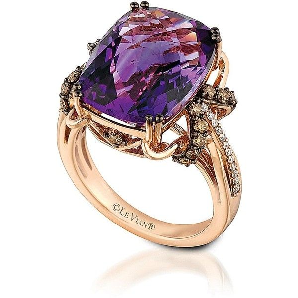 Levian 14Kt Rose Gold Amethyst and Diamond Ring ($2,025) ❤ liked on Polyvore featuring jewelry, rings, accessories, purple, diamond jewelry, rose gold ring, red gold ring, levian rings and purple jewelry