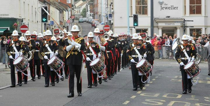 Royal Marine band parade through Exmouth