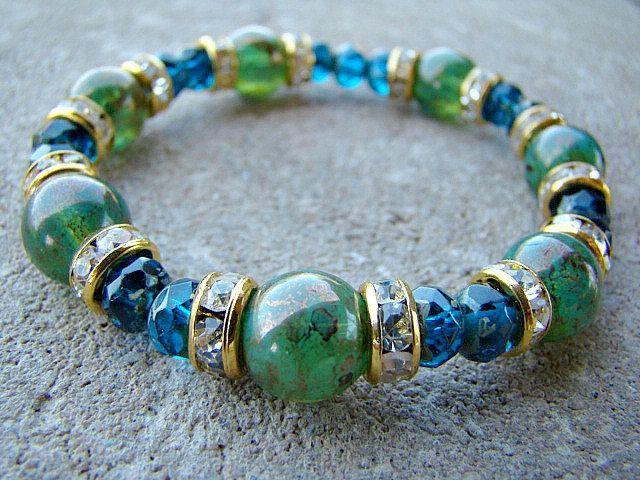 Beaded Bracelet, Stretch Bracelet, Glass Bead, Elastic Bracelet, Green, Blue, Gold, Clear Rhinestone, Stacking Bracelet, Boho Chic, Womens by BeJeweledByCandi on Etsy