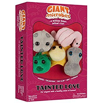 "On a light note... I will be adding this real life set of several plush microbes associated with sexually transmitted infections to my laboratory shelf... The ""Tainted Love"" Microbes themed gift box includes mini microbes... The Clap (Neisseria Gonorrhoeae); Syphilis (Treponema pallidum); Herpes (Herpes simplex); Chlamydia (Chlamydia trachomatis); and HPV (Human Papillomavirus)."