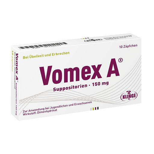 VOMEX A 150 mg Suppositorien - Vomex A Suppositorien werden angewendet zur Vorbeugung und Behandlung von Übelkeit und Erbrechen unterschiedlichen Ursprungs, insbesondere bei Reisekrankheit. Vomex A 150mg Zäpfchen Vomex A mit dem Wirkstoff Dimenhydrinat bei Übelkeit und Erbrechen verschiedener Ursachen. Die Zäpfchen sind für Erwachsene und Jugendliche ab 14 Jahre geeignet.