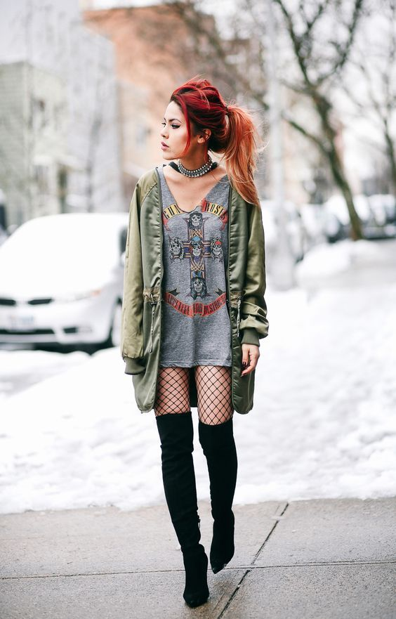 Guita Moda: Dupla estilosa: blusa oversized + bota over the knee