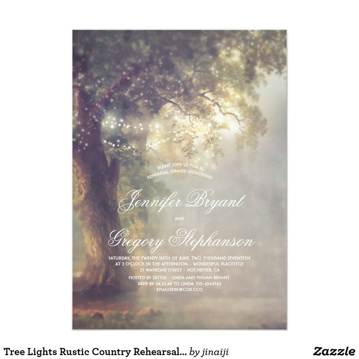 ideas for country wedding invitations%0A Tree Lights Rustic Country Rehearsal Dinner  Tree Wedding InvitationsRehearsal