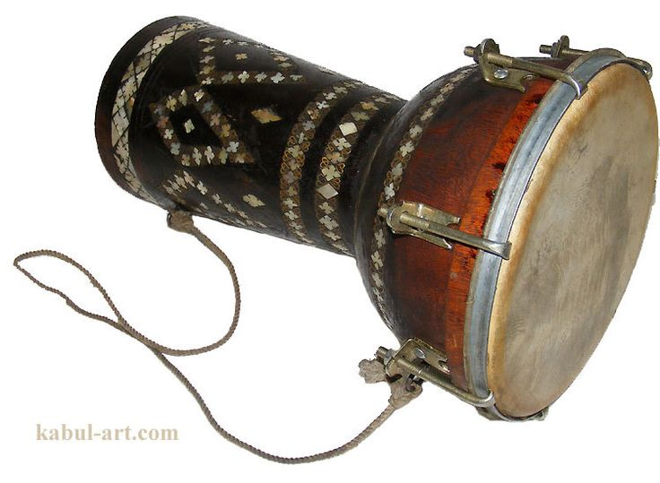 orient exotic musical instrument afghanistan folk hand drum Zerbaghali  with mother of pearl inlay (2)