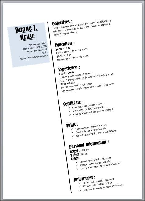 Resume Template   Example Basic Pdf Outline Within Templates In            Cool Free Word Resume Templates Template