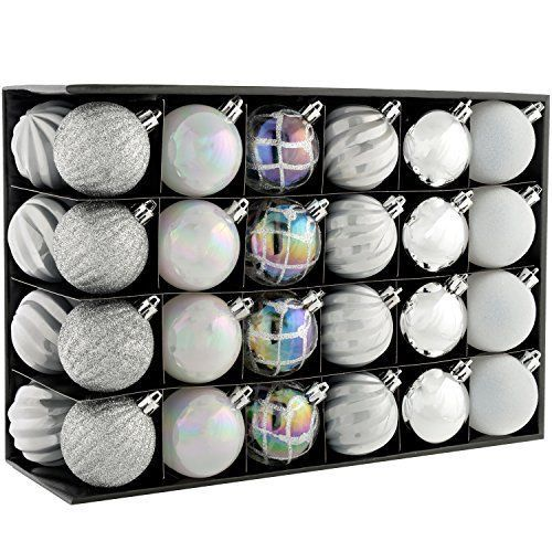 Christmas Tree Baubles 48 Piece Christmas Tree Baubles Silver White Pearl