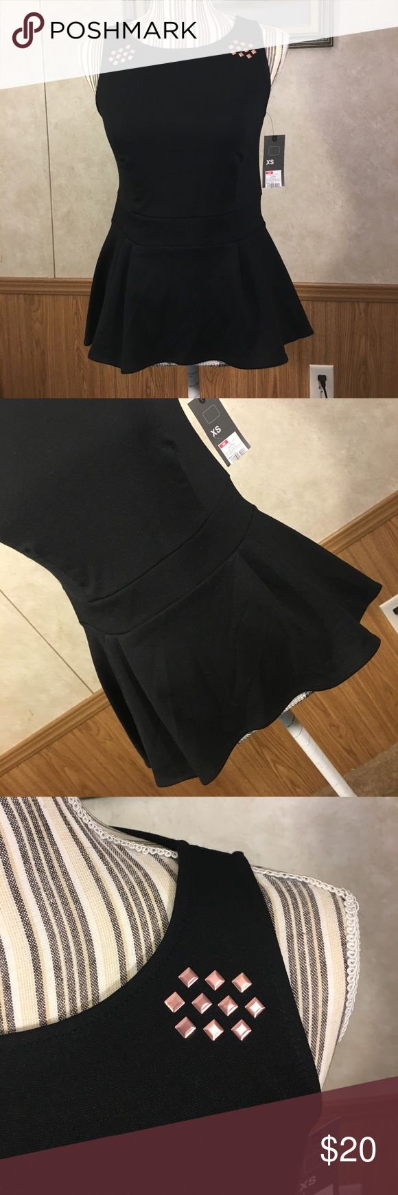 NWT peplum top Black peplum top with copper embellished top. Mossimo Supply Co. Tops