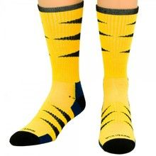 Yellow and black Wolverine performance crew socks.  Be active or hang out. Just wear Wolverine socks.