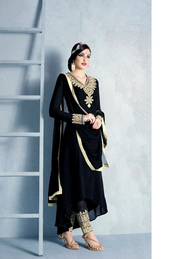 Product Code 1017B Weight 2 KGS Delivery Days 20 Days Fabric-Top Top In Black Color Georgette Fabric With Heavy Embroidery At Neck Line And Cuff Fabric-Dupatta Black Color Chiffon Dupatta With Lace Bo