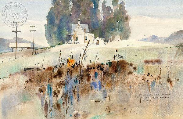 Rex Brandt California Watercolor - On the Way to La Cresta, 1981