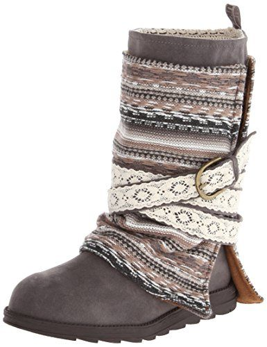 Muk Luks Women's Nikki Belt Wrapped Boot, Grey
