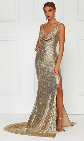 1dfb530aa65 City Sparkler Gold Sequin Spaghetti Strap Sleeveless Cowl Neck Backless  Side Slit Maxi Dress Gown in 2019