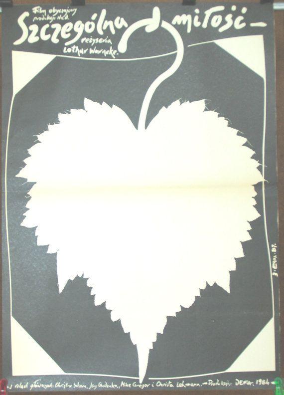 A Strange Love. East Germany 1984 by Lothar Warneke film. Polish poster by Jakub Erol 1987. Black - white poster. Family relationships