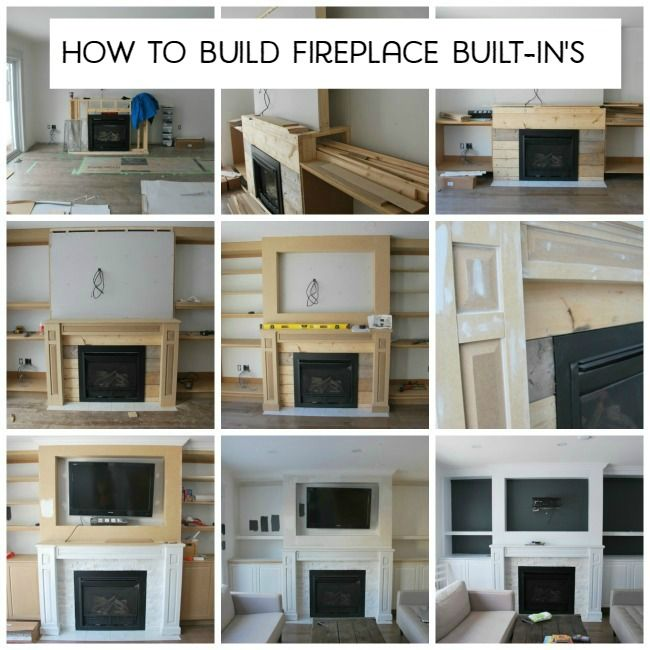 The building of our living room's fireplace built-in's. The shelving was designed in a craftsman style and painted white, with gray backing, & marble tile.