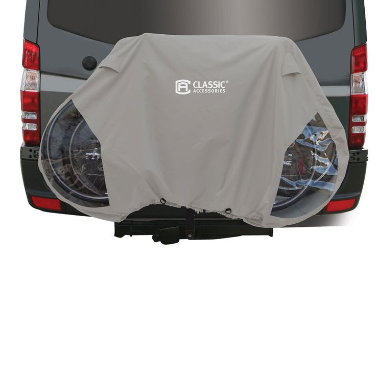 Protects up to 3 bicycles from the elements while mounted to a hitch rack