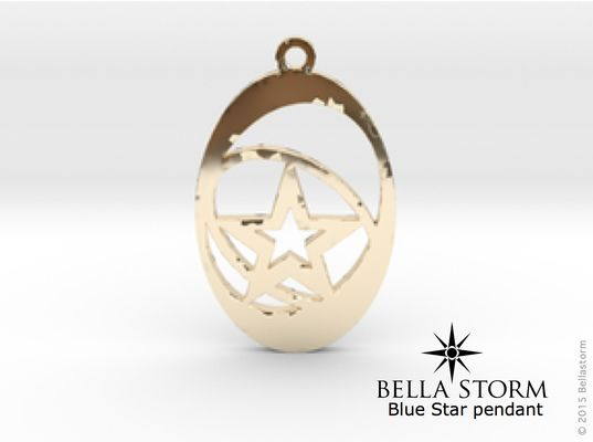 14K gold Blue Star pendant. www.bellastorm.ca Made to order Designer Jewelry.