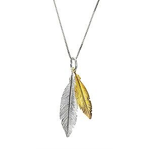Gold Vermeil Twin Feather Pendant