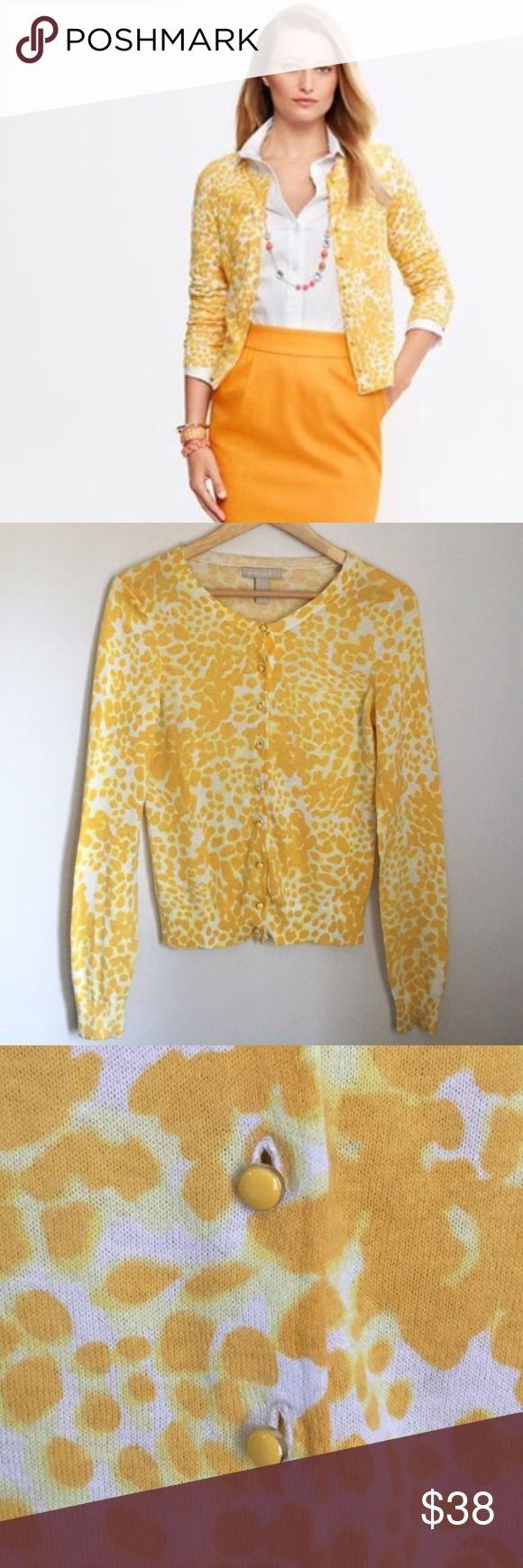 Banana Republic Yellow Animal Print Cardigan XS RARE animal print cardigan in yellow by Banana Republic. Fabric tag is gone but feels to be like all of my 100% cotton cardigans. Gold tone front painted yellow front buttons. Ribbed sleeve cuffs, collar, and hem. Size XS. gently used - great condition. Banana Republic Sweaters Cardigans