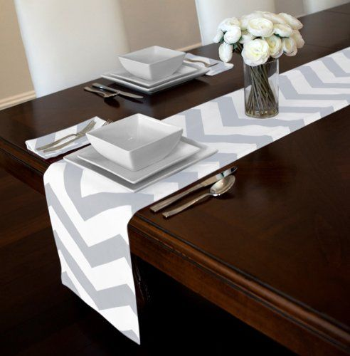 Grey and White Chevron Zigzag Table Runner x & 13 best Table runners. Napkins Toppers homegoods images on Pinterest ...