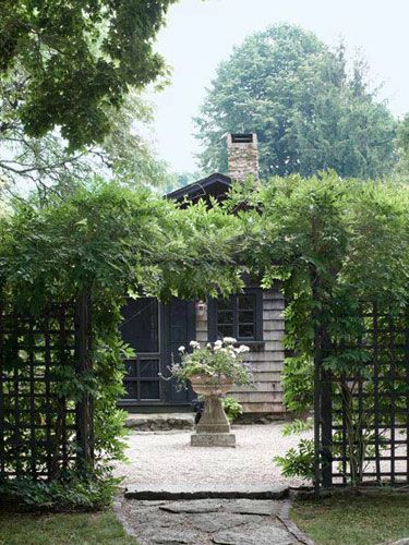 Framed by wisteria, a Grecian- style planter holds a tangle of geraniums and sweet-potato vines.