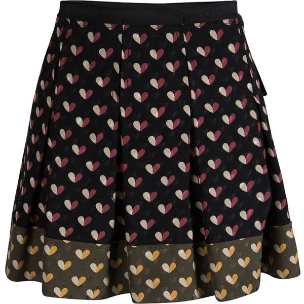 Louis Vuitton Multicolor Heart Printed Silk Pleated Mini Skirt S ❤ liked on Polyvore featuring skirts, mini skirts, colorful skirts, short mini skirts, multi color skirt, pleated skirt and above the knee skirts