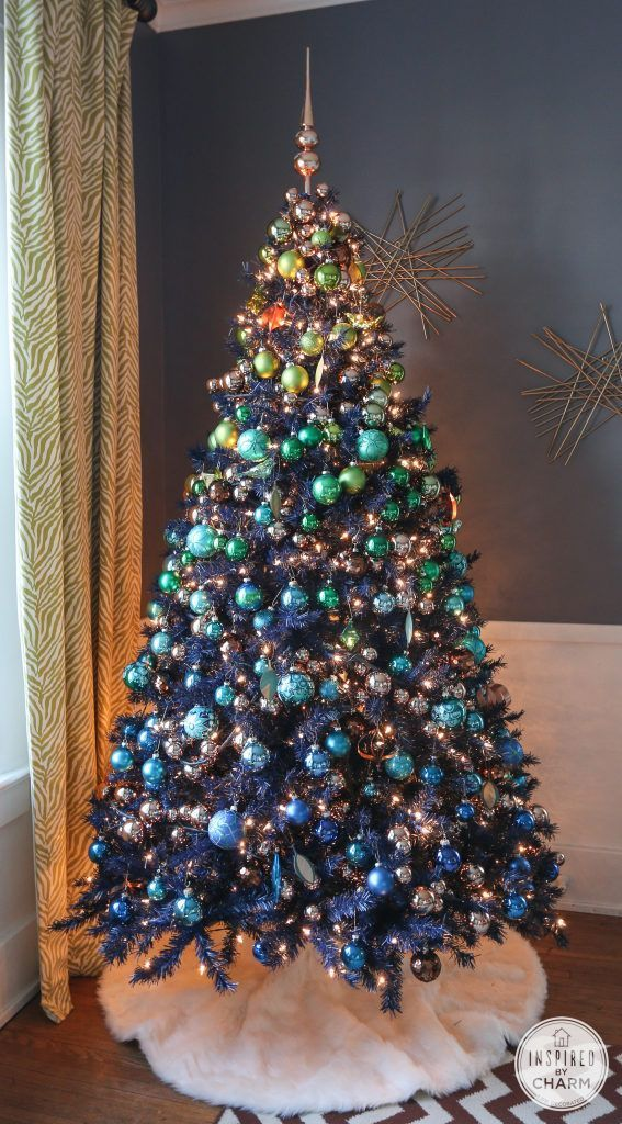 navy blue tree copper ornament garland christmas tree decorations how to decorate a christmas