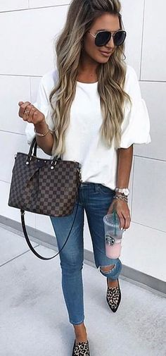 how to wear white in fall - ripped jeans, Louis Vuitton Damier bag and leopard flats