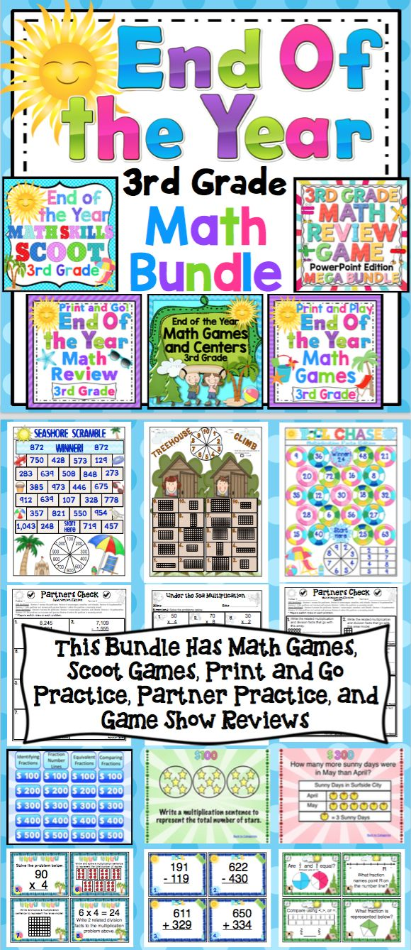 3rd Grade Math End of the Year Mega Bundle - Make the end of the year math something to look forward to! This pack includes 20+ math review games, 6 Scoot Games, 20 math reviews (10 independent and 10 collaborative), and 6 PowerPoint game shows. Wow! $