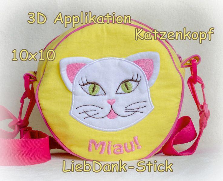 Stickmuster - 3D Applikation Katzenkopf + Miau 10x10 Kätzchen - ein Designerstück von LiebDank-Stick bei DaWanda