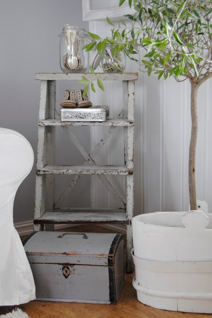 VIBEKE DESIGN... maybe put a ladder like this next to fireplace?