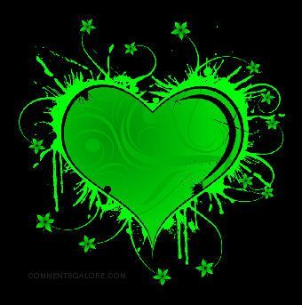 Lime green and black hearts