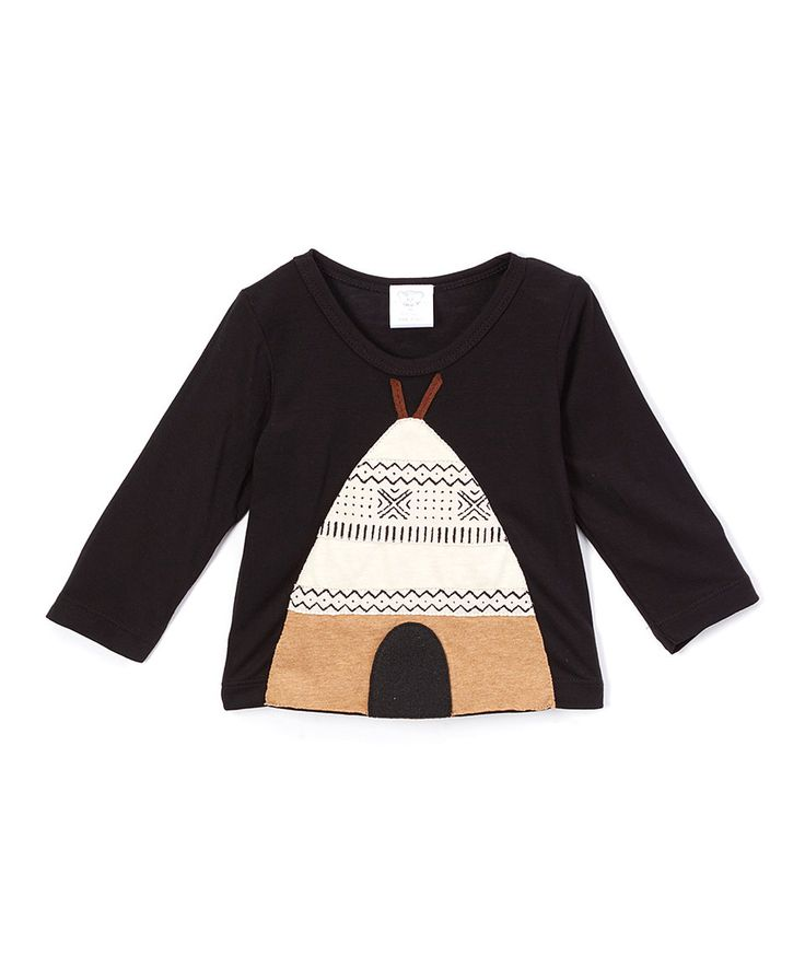 Take a look at this Victoria Kids Black Teepee Appliqué Long-Sleeve Tee - Infant today!