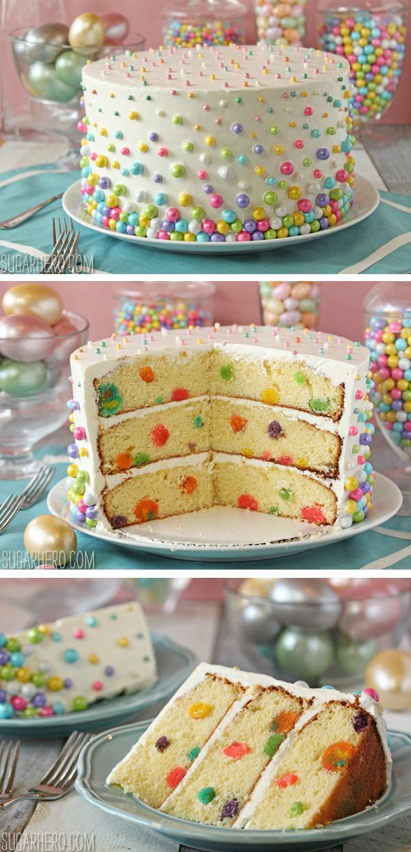 Polka Dot Cake - with a fun dot pattern on both the outside AND inside of the cake! | From SugarHero.com
