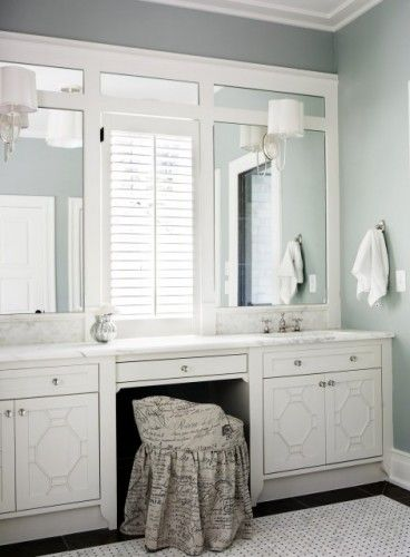 Frame the naked mirror in the master bathroom.Wall Colors, Bathroom Mirrors, Bathroom Colors, Masterbath, Bathroom Vanities, Master Bathrooms, Bathroom Ideas, Traditional Bathroom, Brian Watford