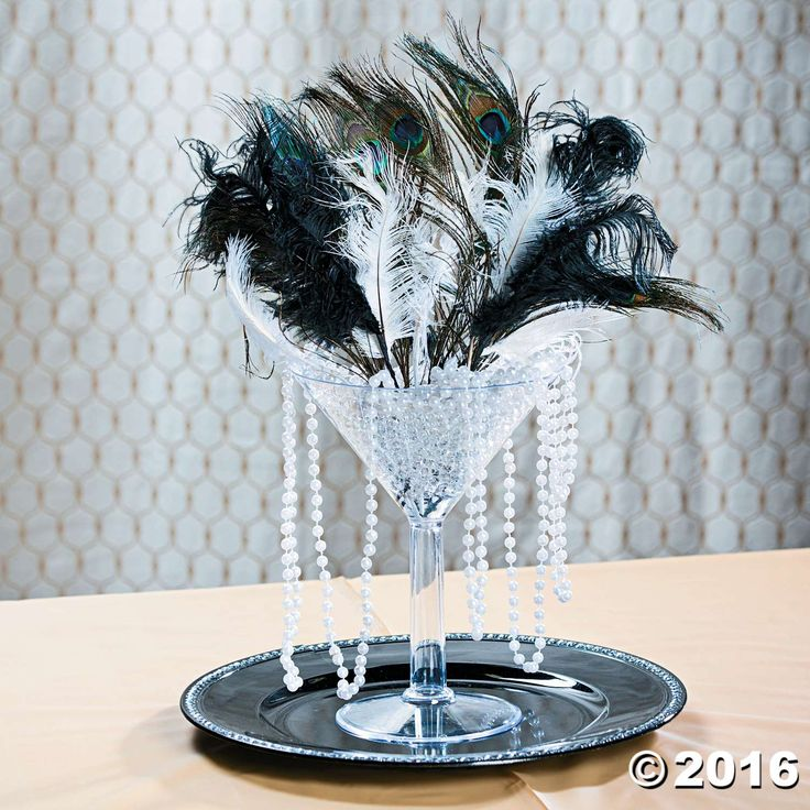 Roaring 20s Centerpiece Idea                                                                                                                                                                                 More