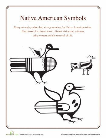 Worksheets: Native American Symbols: Bird