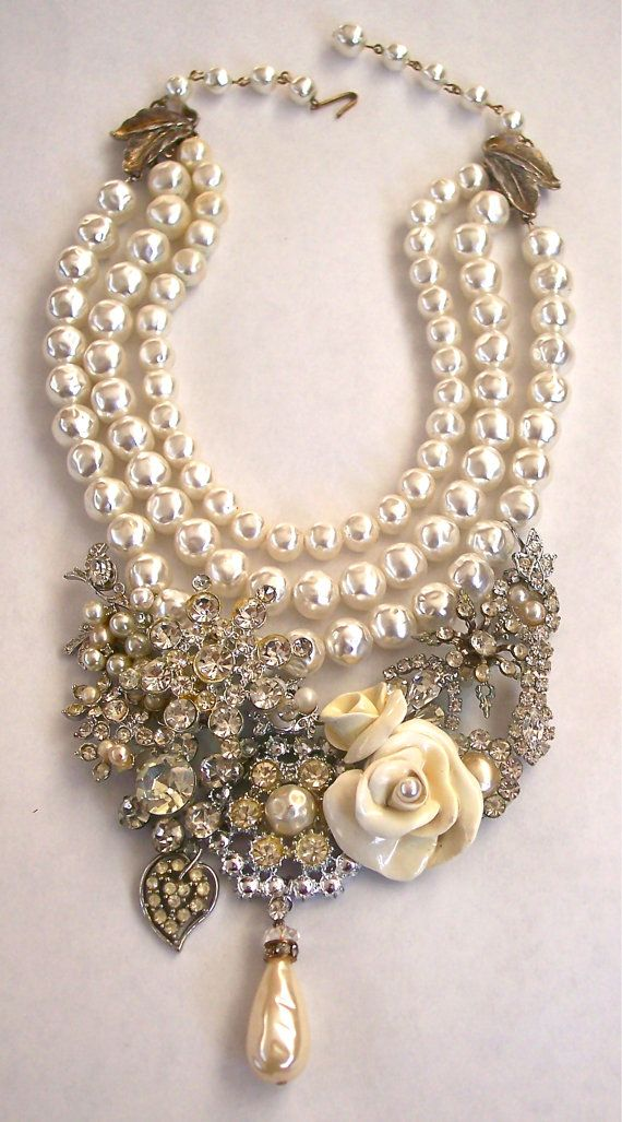 Vintage Rhinestone Necklace with Cream Roses Recycled