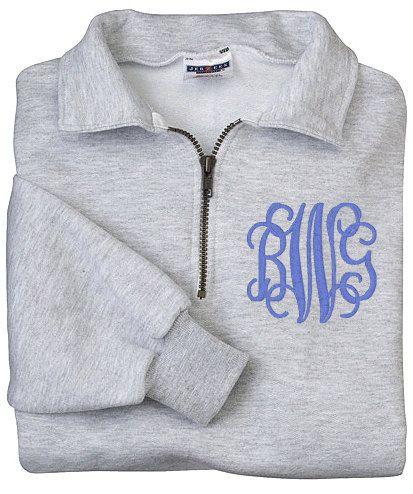 Monogram Sweatshirt Zip Pullover Half Zip Shirt by KNKThrows, $32.95