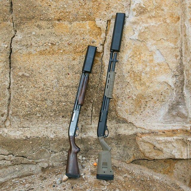 Remington 870 Magpul Tactical/Remington 870 SBS both with SilencerCo Salvo12 suppressors