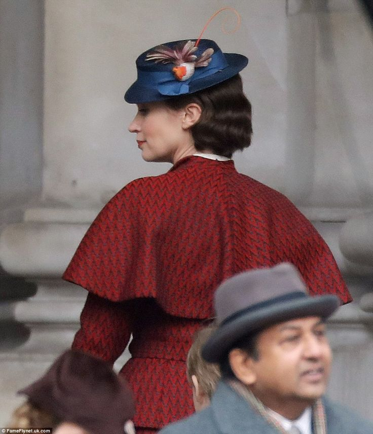Practically perfect: Emily Blunt appeared practically perfect in every way as filming got under way in London for the new Disney feature film remake Mary Poppins Returns on Saturday
