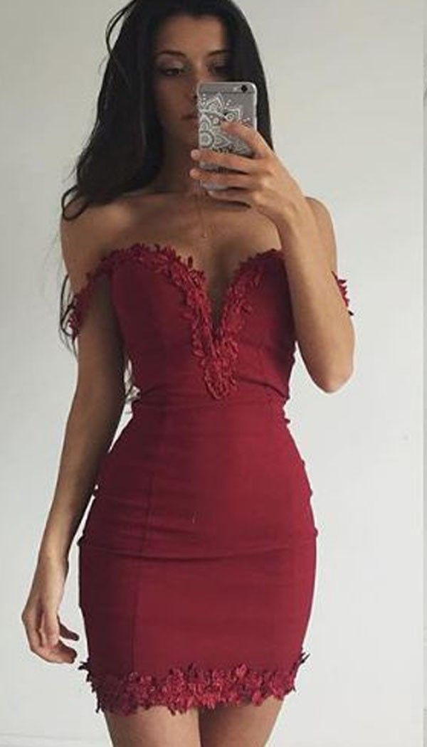 Off the shoulder Lace Mini Dress In Wine MAPLE | OMG fashion
