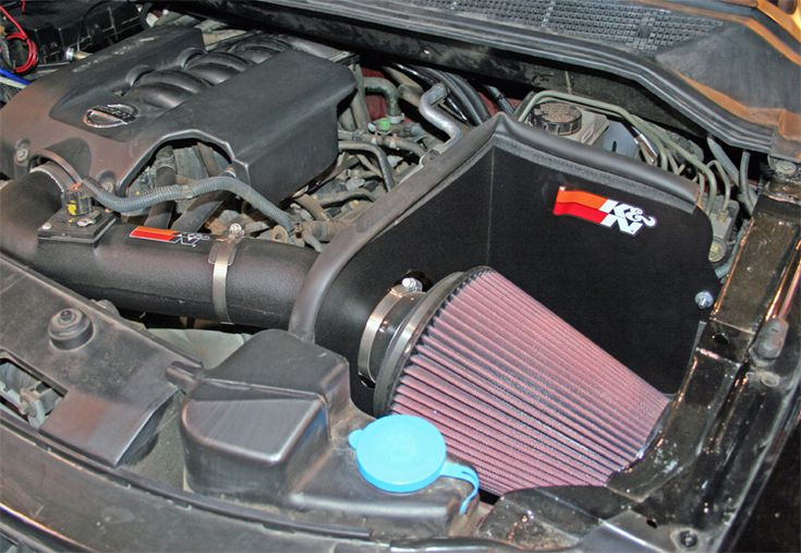 K & N air intake kit 63-6012 on 2008 Nissan Titan in Rancho Suspension Booth at SEMA Show in Las Vegas, Nevada http://www.knfilters.com/news/news.aspx?ID=1691