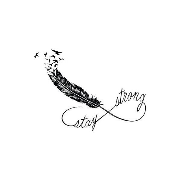 Feather Infinity Temporary Tattoo (Set of 2) - Stay Strong ($5) ❤ liked on Polyvore featuring accessories, body art, tattoos, quotes and words