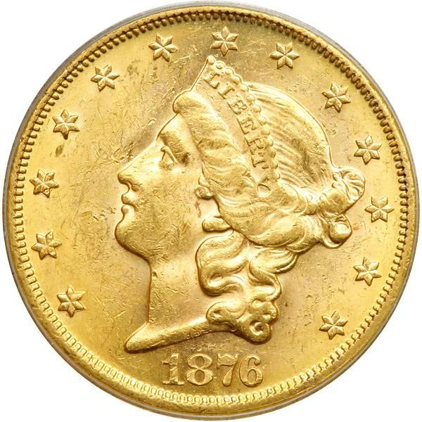 1876 $20 Liberty. PCGS MS61 Quite lustrous with brilliant golden color with a minor scuff in the hair above the hair bun. Crisply detailed. This year is famous in U.S. history for the disputed presidential election similar to the one in 2000. The voting of 1876 resulted in a political dispute of serious proportions. Rutherford B. Hayes, Republican, had 184 undisputed votes, Samuel J. Tilden, Democrat, 165, with twenty from South Carolina, Louisiana, Florida, and Oregon, in dispute. Tilden…