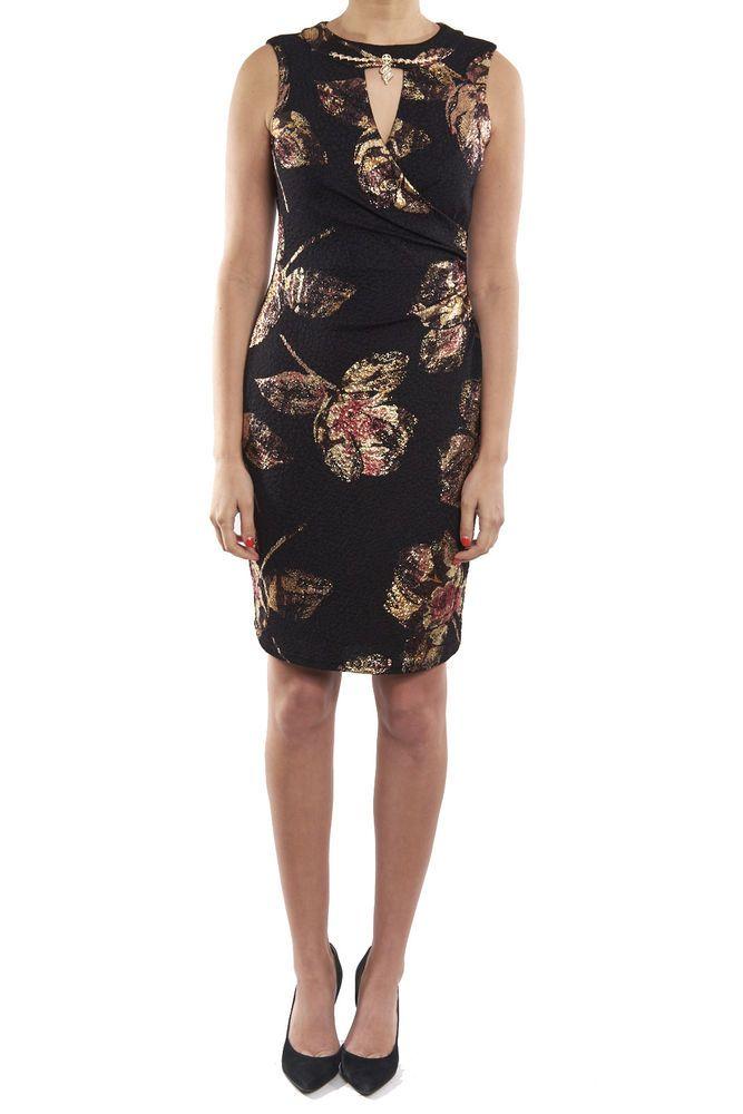 c7cc5b41574 Joseph Ribkoff Black Gold Foil Wrap-Style Cocktail Dress 174721 US 10 UK 12  NEW
