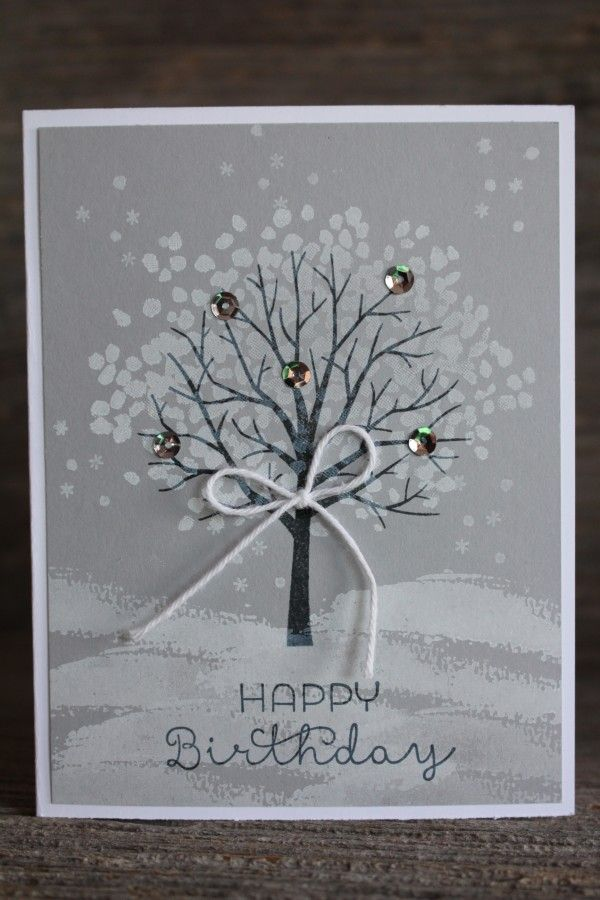 Winter Sheltering Tree Card using the Sheltering Tree and Cottage Greetings stamp sets