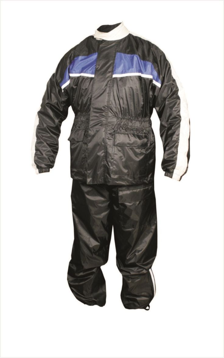Mens Black and Blue Motorcycle Rain Suit with Reflective Stripe by Allstate Leather. http://www.mymotorcycleclothing.com/